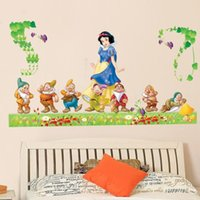 Wholesale Room Murals - Snow White Princess and Seven Dwarf Wall Stickers Kids Girls Room Nursery Wall Mural Poster Art Bedroom Wall Graphic Wallpaper Decor Decals