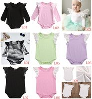 Wholesale White Black Lace Romper - 2017 INS Summer Autumn New baby girls Cotton black white Stripe newborn Lace Fly sleeve rompers Infant Toddler Girl Romper Jumpsuits 9colors
