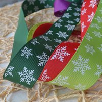 Wholesale Green Printed Grosgrain Ribbon - 25mm Christmas Snowflake Pattern Printed Green Grosgrains Ribbons Hairbows Party Christmas, Holiday, Winter Grosgrain