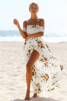 Wholesale Chiffon Flower Material - 2017 hotsale high quality Sexy Women Dresses Flower material slash neck skirts ankle length one-piece dress
