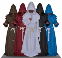 Wholesale Red Hooded Cloak - Halloween Comic Con Party Cosplay Costume Monk Hooded Robes Cloak Cape Friar Medieval Renaissance Priest Men For Men