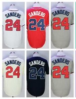 Wholesale Wrinkle Creams - 2018 Mens #24 Deion Sanders Baseball Jersey White Home Gray Road Navy Blue Red Cream Alternate 24 Sanders Baseball Jerseys 100% Stitched
