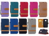 Wholesale canvas wallet case - Retro Denim Jeans Canvas Hybrid Stand Wallet Leather Case TPU Cover For Moto G4 G5 Plus G6 Sony XA1 XZ iPhone X 8 7 6 6S Samsung S8 S9 Plus