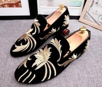 Wholesale National Adhesives - New Arrival Men National Golden embroidery flower velvet shoes Male flats wedding Homecoming Dress shoes Sapato Social moccasins 48