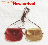 Wholesale Cute Girls Pink Purse - Wholesale- JC KIDS Gilrs Mini Message Bag 10*10cm Small Shining Coin Purse Toddler Cute Red Gold Coin Purse PU Girls Purse Kids Bling Bag