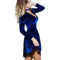 Wholesale Wholesales Dresses Prom Night - Wholesale- 2017 Newly Sexy Dress Casual Mini Prom Party Dresses Women Velvet Dress Halter Deep V-Neck Long Sleeve Lace Dress Vestidos GV500