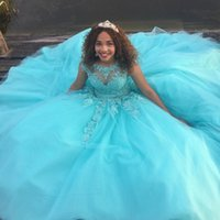 Wholesale mint sequins ball gowns for sale - Group buy Mint Blue Lace Tulle Quinceanera Dresses Sheer Neck Cap Sleeves Appliques Beaded Keyhole Back Corset Lace Up Prom Dresses Sweet Dresses