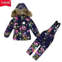 Wholesale Down Coat Overall Girl - Wholesale- Brand 2016 Winter Children Clothing Set for Girls Flowers Down Cotton Jacket Coat + Overalls Ski Suit Warm Windproof Snowsuit