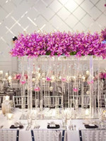 Wholesale crystal vases wedding - Free shipping Crystal tall flower stand flower vase for wedding table centerpiece Banquet supply wedding decoration 4pcs Lot