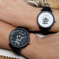 Wholesale Watch King Lady - PoLLock Ladies Mens Quartz Watch Queen King Logo Leather Casual Dress Watch Fashion Lover Couple Watches Luxury Watch Valentine Day Gift