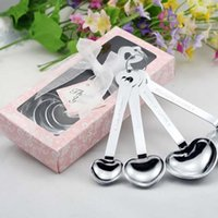 Wholesale Heart Shaped Measuring Tools - Measuring Spoons Set Wedding Favors Party Gifts Heart Shaped Measuring Spoons with Gift Box Heart Shaped Love Kitchen Stainless Steel Tools
