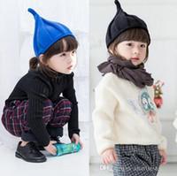diseños de bebé niño invierno tapa al por mayor-Baby Elf Hat Winter Fashion Kids Baby Beanie Tree Elf Design para Boy Girl Infant Child Knit Warm Cap Wizard Sombreros de lana
