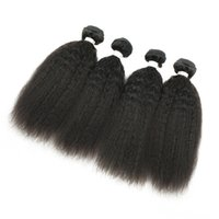 Wholesale Indian Yaki Remy Hair - Afro Style Kinky Straight Raw Indian Virgin Hair 4 Bundles Yaki Straight Human Hair Extensions High Quality 9A Unprocessed Remy Hair Weave