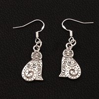 Wholesale cat 925 earrings - Dots Swirl Cat Earrings 925 Silver Fish Ear Hook 30pairs lot Dangle Jewelry E1158 12x36 mm