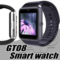 фитнес-часы шагомер оптовых-GT08 смарт-часы сенсорный экран IP67 водонепроницаемый Smartwatch Спорт шагомер фитнес-трекер Iphone Android телефон вызова слот для SIM-карты