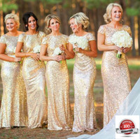 Wholesale Short Peplum Bridal Dresses - Bridal Dress Mermaid Gold Shimmering Sequin Bridesmaid Stretchy Backless Wedding Party Gown Shiny Gold Color wed001
