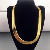 Wholesale Gold Herringbone Necklaces - High quality 70CM*1MM Hip Hop Mens Herringbone Chain Golden Necklace Rapper Chunky Chain Boys Rapper NightClub DJ Jewelry
