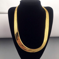 Wholesale gold plated 1mm snake chain resale online - High quality CM MM Hip Hop Mens Herringbone Chain Golden Necklace Rapper Chunky Chain Boys Rapper NightClub DJ Jewelry