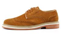 Wholesale Vintage Brogues Mens - Hot Sale EUR38-44 New Vintage Nubuck Leather oxford Brogue Wingtip mens Slip on Casual shoes