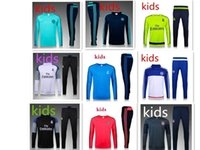 Wholesale Kids Boys Suits - BEST THAI QUALITY 15-2016-17 Real Madrid KIDS BOYS soccer chandal football tracksuit Children's KIDS training suit skinny pants Sportsw