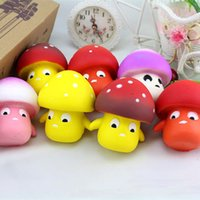 Wholesale Toy Mushrooms Kids - The 9cm*8cm Kawaii Expression Squishy Mushroom Bread Scented Toys Simulation Food Collectibles For Kid Gifts freeshipping