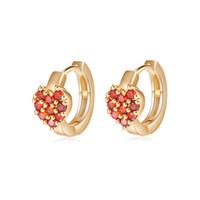Wholesale Gold Earring Child - Lovely Earrings for Children 18K Yellow Gold Plated AAA White Red CZ Setting Heart Earrings Studs for Girls Women