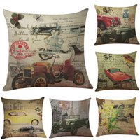 Wholesale European Classic Sofa - European Style Retro Classic Car Linen Cushion Cover Home Office Sofa Square Pillow Case Decorative Cushion Covers Pillowcases (18*18inch)