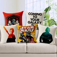 Wholesale New Star Wars Cushion Cover Square Cotton Linen Breathable Pillow Cover Hand painted Throw Pillow Case Living Room Bedroom Sofa Decoration