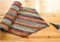 Wholesale linen style tablecloths resale online - Eco Friendly Table Runner cm European Folk Style Linen Cotton Table Runner Bed Flag Home Tea Table Cloth Tablecloth Wedding