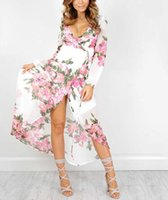Wholesale Sheer Ankle Length Robe - 2017 Summer Floral Dress for Women High Waist V Neck Sexy Long Sleeve Floor Length Robes Female Casual Beachwear Print Plus Size Dresses