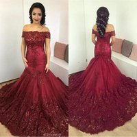 Wholesale Nude Corset Prom Dresses - Sparkly Dark Red Mermaid Evening Dresses 2017 Arabic African Off the Shoulder Lace Sequins Corset Back Long Prom Gowns Vintage Wear BA7204