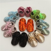 Wholesale Spotted Baby Shoes - Baby Walking Shoes Spot Flash Genuine Leather Multi Colors Lace-up First Walkers Soft Sole Infant Toddler Shoes