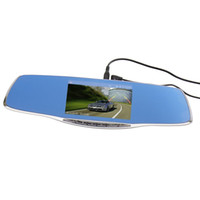 Wholesale Double Dvr Camera - Double camera rearview mirror dash cam dashcam driving record 5 inch blue mirror G-Sensor PZ912 CAR DVR H.264 cycle recording DHL