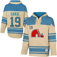 Wholesale Quebec Nordiques Hoodie - Quebec Nordiques #19 Joe Sakic CCM Vintage Throwback Hockey Jerseys Men's 100% Stitched Embroidery Logos Hoodies Sweatshirts Free Shipping