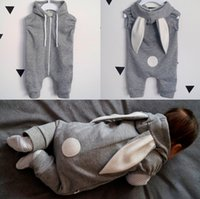 Wholesale Rabbit Onesies - 2017 Boys Girls Baby Rompers Rabbit Ears Newborn Onesies Clothing Zipper Hooded Toddler Romper Infant Bodysuit Boutique Jumpsuits Clothes