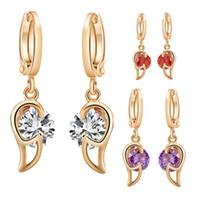 Wholesale Hoop Crystal Earings - Women Jewelry Classic Gold Plated Hoop Earrings Purple Red Clear Round Crystal Hoop Earrings AAA Rhinestone Earings