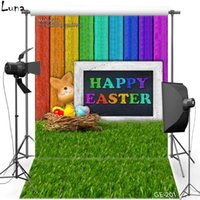 5x7ft Happy Easter Vinyl Photography Background para crianças Muro de madeira colorido Oxford Backdrop Para estúdio de fotografia Props 201