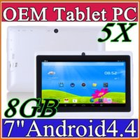 Wholesale Tablet Os Wholesale - 5X Cheap 7inch Q88 Dual camera A33 Quad Core Tablet PC Android 4.4 OS Wifi 8GB 512M RAM Multi Touch Capacitive Bluetooth Tablet Xmas A-7PB