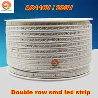 Wholesale Double Rows Waterproof Led Strip - 50m 110v 220v double row smd 5630 5730 3014 2835 led strips fita led strip light waterproof flexible ribbon rope white warm white