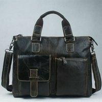 Wholesale Men S Business Briefcases - Wholesale-Guaranteed 100% Natural Genuine leather Men Bag shoulder tote leather men travel bags men 's bags handbags briefcase New Fashion
