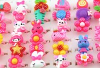 Wholesale Baby Jewelry For Girls - Jewelry Wholesale 100pcs lot Baby Girl Mixed Lovely Candy Color Animals Flower Cartoon Rings Cute Kids Rings for Christmas gift MR124