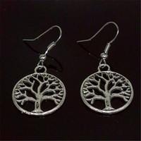 lustres antiques achat en gros de-Antique Silver Tree Of Life boucles d'oreilles DHL percé oreilles 925 poisson argent crochet d'oreille crochet lustre bijoux