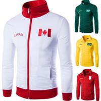 Wholesale Canada Outwear - Men Jerseys Jackets Suit Embroidery Counties Flags Canada England Jersey slim zipper Tracksuit Hoodie Zippers Roupas Man Outwear
