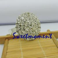 merkez kristaller toptan satış-Toptan-200 adet Bütün Kristal Serviette Yüzük Lüks Masa Centerpiece Sıcak Satış Düğün Peçete Halkası