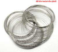 DoreenBeads Steel Wire Memory Beading Pulseras Componentes Round Silver Tone 7cm-7.5cm Dia, 45 Loops 2016 nuevo