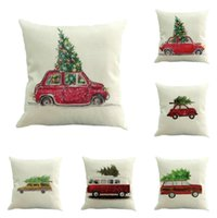 Wholesale xmas throw pillows - 45*45cm Linen Merry Christmas Cushion Cover Xmas Square Throw Pillow Case For Home Sofa Decorateive Cushion Cover