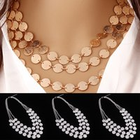 Wholesale Turkish Link Gold - 2Pcs Bohemia Turkish Gold Silver Plated Multilayers Necklaces For Women Beach Jewelry Coin Choker Bib Statement Necklace