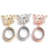 Wholesale Circle Rhinestone Brooch - Oval 3D Butterfly Brooch Locket With Rhinestones