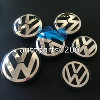 Wholesale Vw Jetta Emblem - Car Styling 20pcs 56mm 60mm 65mm 70mm Wheel Center Caps Rim Hub Cap Emblem For VW Volkswagen Passat Jetta Golf car badges emblem decoration