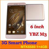 Wholesale Cheap Phones Big Screens - YBZ M3 Cheap 6 inch MTK6580 Quad Core Android 6.0 Cell Phone 1GB 4GB Dual SIM WCDMA unlocked 960*540 big screen phablet Smart phone + case